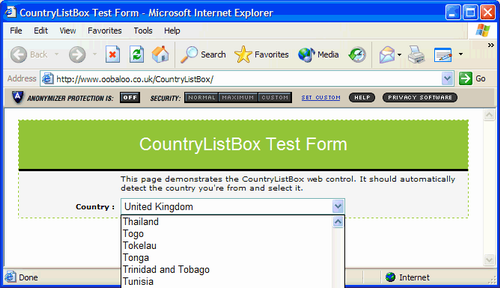 CountryListBox ASP NET Web Control, lists countries and